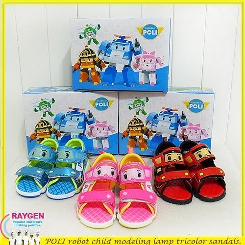 卡通 運動 涼鞋 POLI 波力救援小英雄 童鞋 發光鞋 電燈鞋