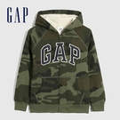 Gap男童 Logo簡約仿羊羔絨連帽外套 592767-綠色迷彩