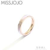 現貨 日韓版簡約三個?貝母貝殼鈦鋼鍍18K玫瑰金色食指戒指女韓國個性   12-31