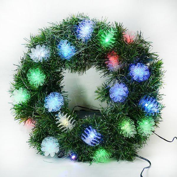 20 吋LED松果燈光纖聖誕花圈 (本島免運費)