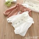女童襯衫春季女童襯衫2020新款女寶寶百搭花邊襯衣春裝兒童長袖上衣娃娃衫 1件免運