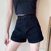 黑色高腰牛仔短褲女夏2021新款直筒寬鬆顯瘦寬管褲小個子超短褲子