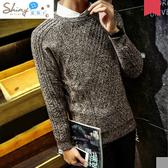 【Y009】shiny藍格子-紳士男爵.冬季韓版復古修身加厚圓領針織毛衣上衣