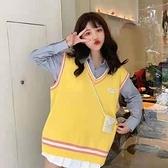 背心上衣針織衫毛衣v領無袖針織馬甲背心女學生韓版寬鬆學院風ins毛衣外穿衣S219-7681.胖胖美
