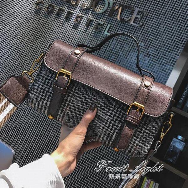 包包女新款潮韓版時尚格子小包chic側背包少女百搭手提單肩包 果果輕時尚