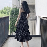 吊帶裙 chic波點露背蛋糕裙過膝泰國旅游度假長裙修身顯瘦v領吊帶連身裙 雙11狂歡