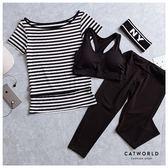 Catworld 極簡條紋。短袖款瑜珈健身運動套裝三件組【16600194】‧S/M/L/XL/XXL