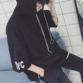 帽T 夏季情侶裝短袖衛衣男韓版寬鬆蝙蝠袖體恤青少年BF分半袖連帽T恤