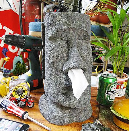 摩艾鼻涕搞怪衛生紙盒 復活節島石像人臉像MOAI面紙抽面紙盒款抖音紙巾抽盒筒