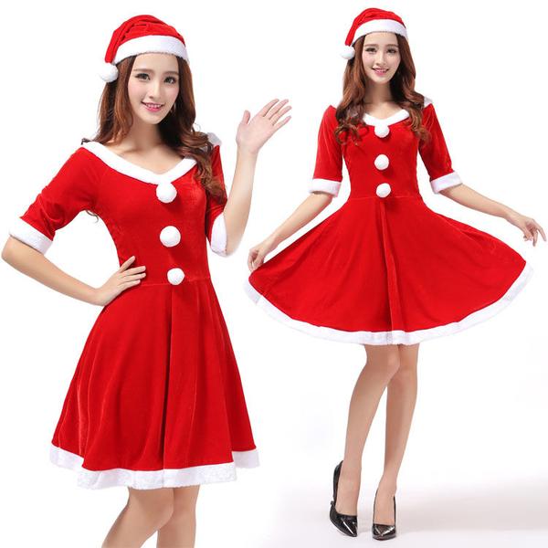 圣誕節服裝女成人紅色金絲絨性感演出衣服派對服加大碼圣誕裝套裝快速出貨