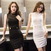 VK精品服飾 韓國風名媛氣質上鏤空拼接OL修身露腰包臀開叉無袖洋裝