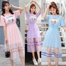 兩件套洋裝 連衣裙閨蜜套裝姐妹夏季法式網紗裙子學生小清新超仙女洋氣兩件套 歐歐