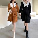 VK精品服飾 韓國風名媛氣質大翻領撞色襯衫袖長袖洋裝