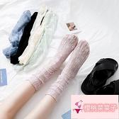 3雙 襪子女薄款網紗玻璃襪中筒襪蕾絲堆堆襪日系潮涼鞋襪【櫻桃菜菜子】