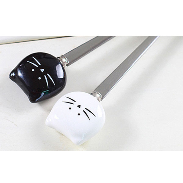 黑白貓咪不銹鋼小湯匙 攪拌棒【娜娜香水美妝】黑白貓 湯匙 咖啡匙 卡通 可愛 童趣