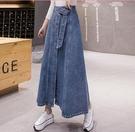 牛仔傘裙 半身裙秋冬女2021年新款長裙A字裙高腰中長款一步裙潮 3C數位百貨