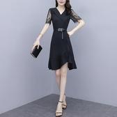 魚尾洋裝 大碼女裝2020夏新款韓版收腰顯瘦名媛氣質蕾絲拼接連身裙 TR1095『寶貝兒童裝』