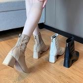 馬丁靴女英倫風2020新款春秋季單靴方頭粗跟網紅瘦瘦高跟鞋短靴子