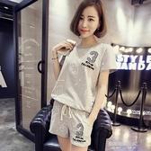 休閒套裝夏季韓版新款短褲運動服套裝女短袖寬鬆潮大碼(快速出貨)