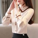 (促銷全場九折)新款韓版女春秋洋氣雪紡衫襯衣修身百搭長袖氣質打底襯衫上衣