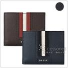 BALLY TEVYE銀字LOGO牛皮紅白/黑白條紋6卡短夾(三色)