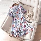 洋裝-桑蠶絲優雅氣質花朵荷葉邊連身裙73sz41【時尚巴黎】