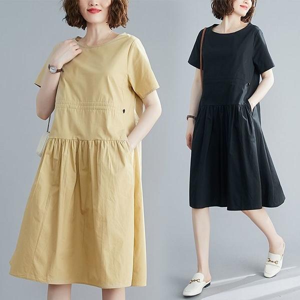 漂亮小媽咪 純色 短袖 寬鬆 連衣裙 【D8109】文藝 收腰 抽繩  洋裝