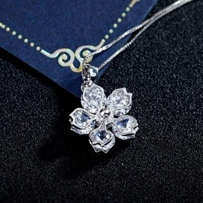 925純銀項鍊 水晶墜飾-花瓣造型生日情人節禮物女飾品2色73aj315【巴黎精品】