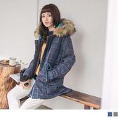 《EA2414》毛領連帽設計格紋鋪棉大衣外套 OrangeBear