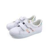 小男生鞋 休閒鞋 魔鬼氈 白色 霓虹 童鞋 B277 no151
