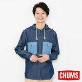 CHUMS 日本 男 CPO 兜帽丹寧襯衫 原味藍 CH021067N030