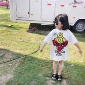 女童T恤 男女童裝中長款印花短袖寶寶白色 珍妮寶貝