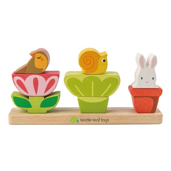 【美國Tender Leaf Toys】可愛花圃疊疊樂(手眼協調疊疊樂)