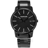 CK / K2G2G4B1 / 率性紳士 簡約時尚 礦石強化玻璃 日期 不鏽鋼手錶 鍍黑 43mm