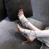 綁帶高跟鞋女羅馬涼鞋露趾細跟方頭一字扣【南風小舖】