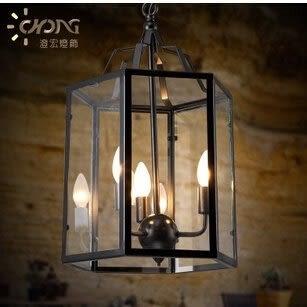 設計師��術精品館loft複古餐廳燈鳥籠鐵藝玻璃創意客廳燈咖啡店個性吊燈