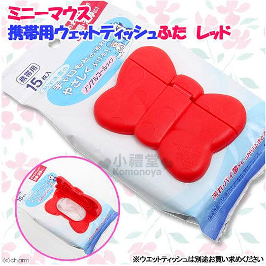 〔小禮堂〕迪士尼 米妮 日製濕紙巾蓋子《紅.點點.蝴蝶結造型》可重複使用 4904121-30997
