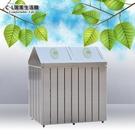 【 C . L 居家生活館 】TH2-109S 不鏽鋼二分類資源回收桶