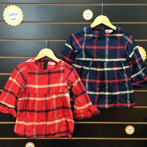 ☆棒棒糖童裝☆秋冬女童格子款花邊袖長袖洋裝 5-15 藍;紅