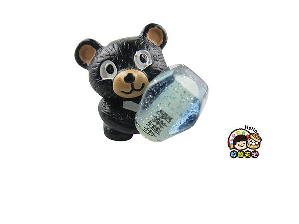 【收藏天地】台灣紀念品*黑熊抱天燈夜光冰箱貼-藍 ∕