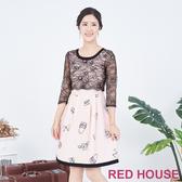 RED HOUSE-蕾赫斯-透膚蕾絲印花洋裝(粉橘色)