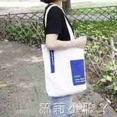 帆布袋小清新文藝手提包簡約女款學生環保購物袋大容量帆布單肩包 全館免運