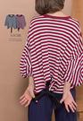 A-SO-BI正韓-後襬蝴蝶結綁帶澎包袖橫條上衣【B10037-14】
