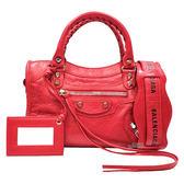 【Balenciaga 巴黎世家】300295 Mini City銀釦羊皮機車包(紅)