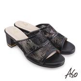 A.S.O 時尚流行 優雅時尚網布時髦粗跟涼鞋 黑