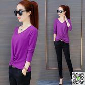 長袖T恤 紫色v領長袖t恤女秋裝2018新款韓范大碼顯瘦針織打底衫體恤上衣服 城市玩家