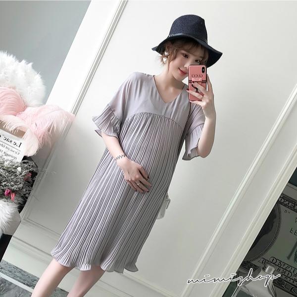 孕婦裝 MIMI別走【P521416】微風小名媛 V領雪紡百褶連身裙 孕婦洋裝