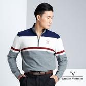 【Emilio Valentino】美式舒適休閒立領POLO衫 - 藍/白/灰