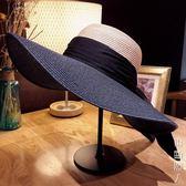沙灘帽子女夏季海邊出游百搭夏天遮陽防曬太陽大沿草帽大帽檐 街頭潮人