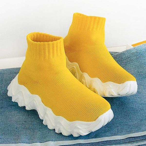 X-INGCHI女款黃色厚底襪套鞋 -NO.X0285